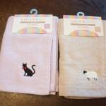 ワンポイント刺繍がおしゃれな100均ミーツのシャーリングハンドタオル